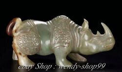 6 Old Chinese Natural Hetian Jade Carving Palace Rhinoceros Animal Statue