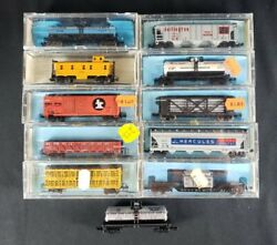 Vintage Lot Of 11 N Scale Gauge Freight Train Railroad Box Cars Atlas W/ Cases