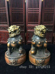 4.4 Chinese Antique Bronze Hand-carved Pair Of Lions On Drum Tower