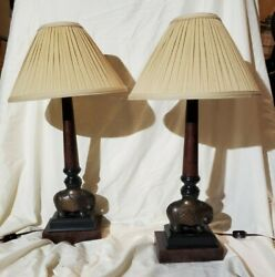 Pair Of Buffet Style Metal Elephant Lamps.