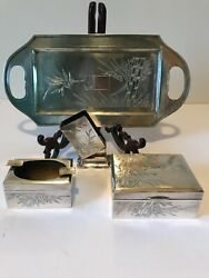 Antique Chinese Export Silver Bamboo Decorated Smoking Set Signed