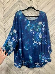 Catherines Blue Long Sleeve Scoop Neck Floral Knit Stretch Plus Size Top 4x