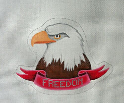 Handpainted Needlepoint Canvas Freedom Eagle Pepperberry Pa10 5.75x4.25 18m