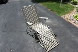 Vintage Aluminum Webbed Folding Beach Lawn Chair Chaise Lounge Brown And Tan Guc