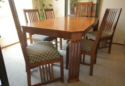 Stickley-style Mission Arts And Crafts Extension Oak Dining Table