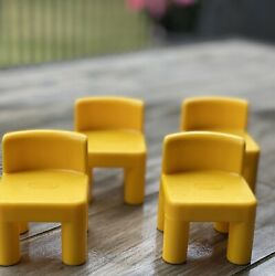 Little Tikes Doll House Furniture Set Of 4 Chairs Yellow