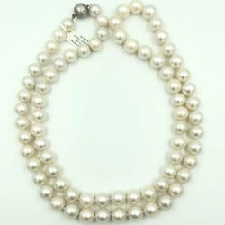 Hand Strung Dia's Clasp 14k Gold 12mm Fine Pearls35' Length