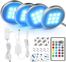 Bason Rgb Under Cabinet Lighting Remote Control Led Puck Lights Wired Multi Co
