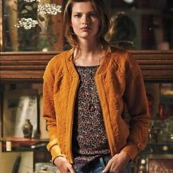 Saturday Sunday Quilted Jacquard Bomber Jacket Size Small Mustard Anthropologie