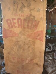 Vintage Burlap Bag Beacon Feeds Agriculture Advertising