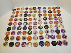 Vintage Pogs 8-ball Lot Of 100+ Plus Slammer Toys Game Collectables