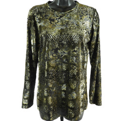 New Pure Amici Black And Gold Floral Snake Print Sheer Long Sleeve Top Womenand039s Xs