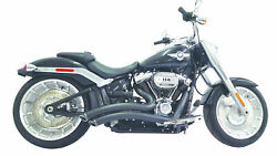 Sharp Curve Radius Full Exhaust For M8 Softail - All Black For 18-20 Hd Softail