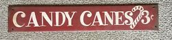 """Vintage Candy Canes Tin Store Sign Christmas Decor 19"""""""