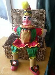 Vintage Punch And Judy ,punch Hand Puppet With Wooden Head+feet.