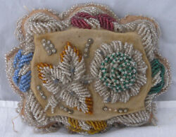 Antique Large Glass Beaded Iroqois Pincushion Dated 1893 Approx 9 X 7 Flowers