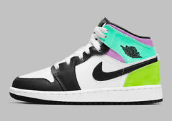 Nike Air Jordan Mid 1 Gs Shoes White Black Pastel 554725-175 Youth/womenand039s New