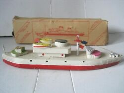 Early Vintage Wood Ship Boat Toy Made In Japan American Flag Original Box