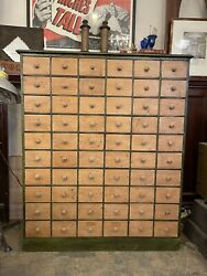 Antique Reconditioned Wood 60 Drawer Apothocary Cabinet Chest Of Drawers