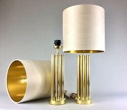70's Pair Cylindrical Table Bedside Gold Brass Lamps Shades Hollywood Regency