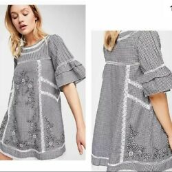 Nwot Free People Sunny Day Size Xs Checkered Embroidered Black And White Dress