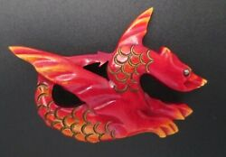 Vtg Rare Blumenthal Over Dyed Bakelite Figural Mythical Winged Dragon Pin Brooch