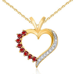 Ruby And Diamond Heart Pendant Necklace 14k Yellow Gold Over 925 Sterling Silver