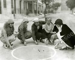 Group Of People Playing Marble Game 8quot; 10quot; Bamp;W Photo Reprint