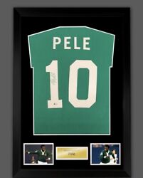Pele Signed In Green Sharpie Name And Number Framed Cosmos Shirt Rare Coa £349