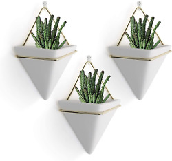 PUDDING CABIN 3Pack Triangle Wall Planters for Succulent Ceramic Hanging Planter