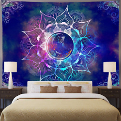 Ameyahud Mandala Tapestry Blue Starry Sky and Moon Tapestry Psychedelic Trippy T