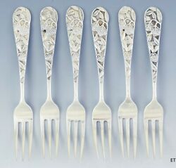C1850-1910 Fine Set 6 Chinese Export Silver Berry Motif Fruit Forks