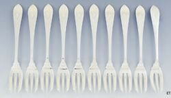 Great Set 10 Dominick And Haff Sterling Silver Fish Forks Pointed Antique 3 Engr.