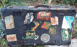 Antique Vintage Hard Suitcase Luggage + Real Labels 1930's Europe Uk Rry Hotels