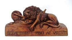 Swiss 19th Century Antique Carved Wood Figure The Lion Of Lucerne