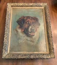 1893 Antique Oil Painting Of Dog - Oil On Canvas