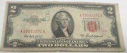 1953 A Two Dollar Bill 2 Note /fancy Red Seal Old Paper Us Currency Bill