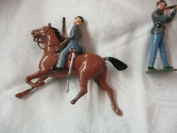 Vintage England Wm Britains 9 Lead Toy Confederate Soldiers 3 Horses Rifles