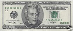 20 Federal Reserve Note Fancy Low Serial 00000008 2001 Rare Lucky Number 8