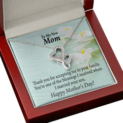 To Mother-in-law Youand039re Blessings Double Hearts Necklace Message Card