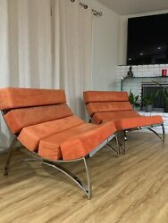 Lounge22 Arctic 5 Lounge Chair In Bright Orange Suede And Steel