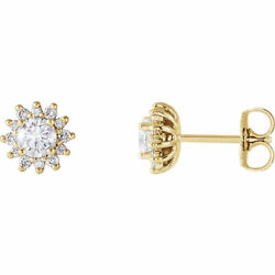 Diamant Halo-style Earrings In 14k Or Jaune 1/2 Ct.