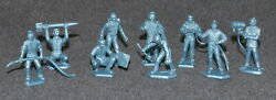 Marx 1960s Cape Canaveral Play Set Thick Base Figures Metallic Blue