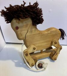 Wooden Pull Horse Michaud Toys Hard Maple Wood - Hand Made - Canada