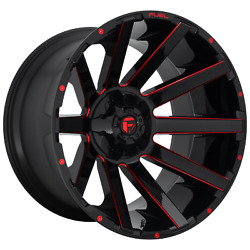 Set Of 2 New Fuel Offroad D643 Contra 22x10 8x165.1/8x6.5 Gloss Black Red