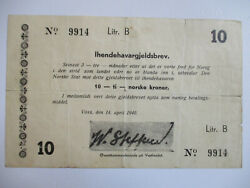 Norway Ww2 Army High Command - General Steffens 10 Kroner Note 1940 P.m2 F