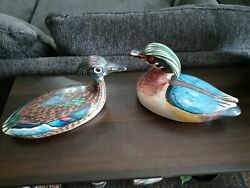 2- Hand Carved And Painted Wooden Ducks