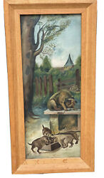 Antique Dog Puppies Oil Painting Signed 1917 Pitbull Terrier