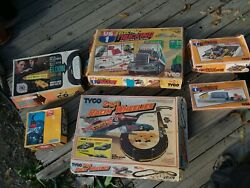6 Vintage Electric Toy Sets Tyco Eldon Trucking Racing Cars Ski Lift Collectible