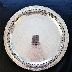Vintage Wm Rogers And Son Spring Flower 2072 Silverplated Round 15 Tray Platter